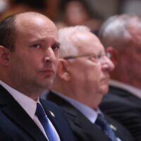 Prime Minister Naftali Bennett attends a state memorial ceremony marking seven years since Operation Protective Edge at the National Memorial Hall at the entrance to the military cemetery on Mount Herzl, June 20, 2021 (Yonatan Sindel/Flash90)