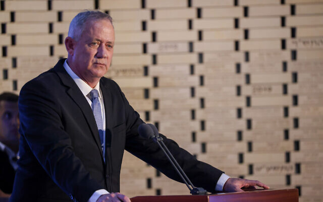 Defense Minister Benny Gantz at a state memorial ceremony marking 7 years since Operation Protective Edge at the National Memorial Hall at the entrance to the military cemetery on Mount Herzl, June 20, 2021. (Yonatan Sindel/Flash90)