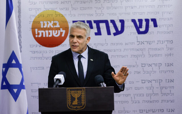 Head of the Yesh Atid party Yair Lapid speaks during a faction meeting at the Knesset on June 21, 2021. (Olivier Fitoussi/Flash90)
