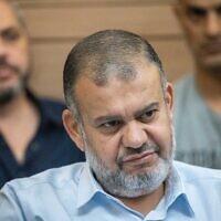 Ra'am MK Walid Taha attends a Knesset Arrangements Committee meeting, on June 21, 2021. (Yonatan Sindel/Flash90)