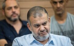 Ra'am MK Walid Taha attends a Knesset Arrangements Committee meeting on June 21, 2021. (Yonatan Sindel/Flash90)