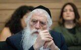 MK Meir Porush attends a Knesset Arrangements Committee meeting in Jerusalem on June 21, 2021. (Yonatan Sindel/Flash90)