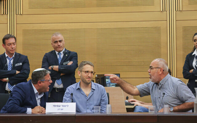Joint List MK Osama Saadi (R) and Religious Zionism MK Itamar Ben Gvir (L) argue during an event at the Knesset titled ,After 54 years: From Occupation to Apartheid,, June 22, 2021. (Yonatan Sindel/Flash90)