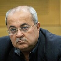 Joint List MK Ahmad Tibi at the Knesset in Jerusalem, on June 22, 2021. (Yonatan Sindel/Flash90)