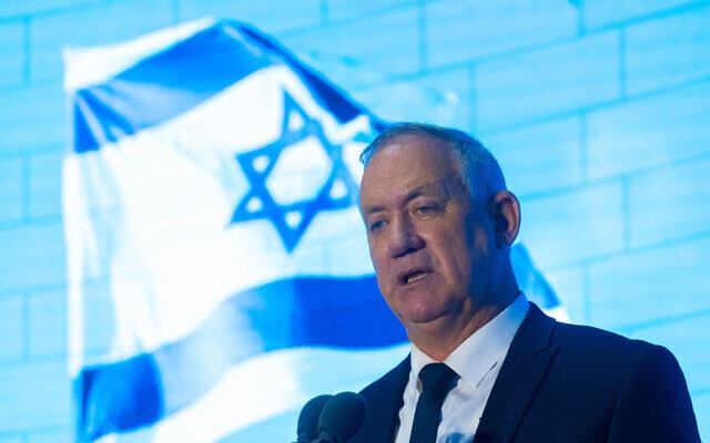 Defense Minister Benny Gantz speaks at a memorial ceremony for Israeli soldiers killed in the 2006 Second Lebanon War, at the National Hall of Remembrance at Mount Herzl in Jerusalem, on June 24, 2021. (Olivier Fitoussi/Flash90)