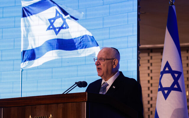President Reuven Rivlin speaks at a ceremony in memory of the Israeli soldiers who were killed in the second Lebanon War at the National Hall of Remembrance at Mount Herzl in Jerusalem on June 24, 2021. (Olivier Fitoussi/Flash90)