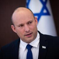 Prime Minister Naftali Bennett leads a cabinet meeting at the Prime Minister's Office in Jerusalem on June 20, 2021.  (Alex Kolomoisky/POO)