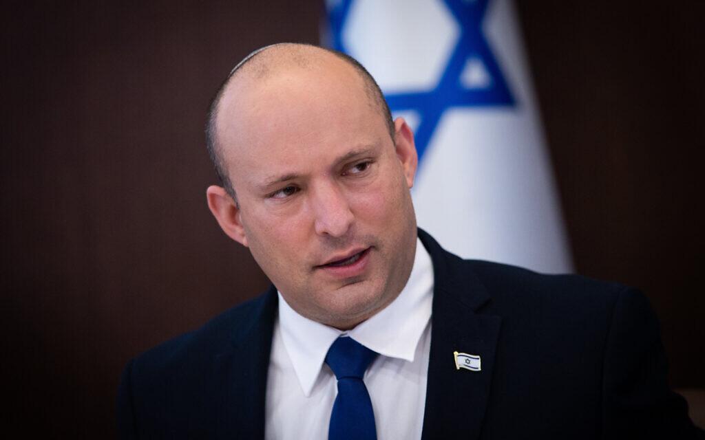 Israeli Prime Minister Naftali Bennett leads a cabinet meeting at the Prime Minister's Office in Jerusalem on June 20, 2021.  (Alex Kolomoisky/POOL)