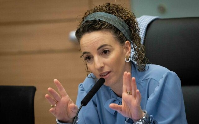 Idit Silman MK (Yamina), head of the Arrangements Committee, leads a Committee meeting at the Knesset, on June 28, 2021. (Yonatan Sindel/Flash90)