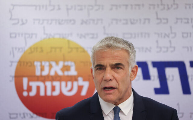 Yesh Atid party leader Yair Lapid speaks during a faction meeting at the Knesset in Jerusalem, June 28, 2021. (Yonatan Sindel/Flash90)