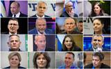 Leading members of the prospective 36th government, left to right, top to bottom: Naftali Bennett, Yair Lapid, Benny Gantz, Ayelet Shaked, Gideon Sa'ar, Avigdor Liberman, Omer Barlev, Merav Michaeli, Nitzan Horowitz, Chili Tropper, Yifat Shasha-Biton, Ze'ev Elkin, Orna Barbivai, Tamar Zandberg, Matan Kahana, Yoaz Hendel (Yonatan Sindel, Olivier Fitoussi, Avshalom Sassoni,  Gili Yaari/Flash90)