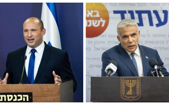 (R) Naftali Bennett and (L) Yair Lapid (Yonatan Sindel/Flash90)