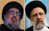 (R) In this October 24, 2015 photo, Hezbollah leader Hassan Nasrallah addresses a crowd in Beirut, Lebanon. (AP Photo/Hassan Ammar, File)/(L) Ebrahim Raisi in Tehran, Iran, June 18, 2021 (AP Photo/Ebrahim Noroozi)