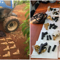 Israeli security forces foil an attempted weapons smuggling on the border with Lebanon, on June 18, 2021. (Israel Police)