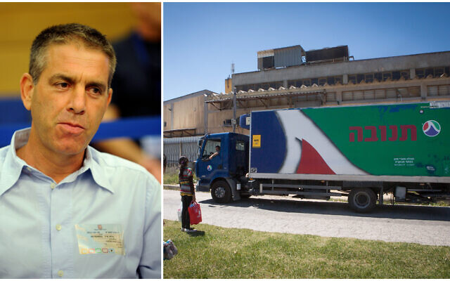 Composite photo: Left, CEO of Tnuva, Eyal Malis at a Knesset committee meeting on June 19, 2011; right, a Tnuva plant near Jerusalem on May 1, 2015. (Gili Yaari,Miriam Alster/Flash90)