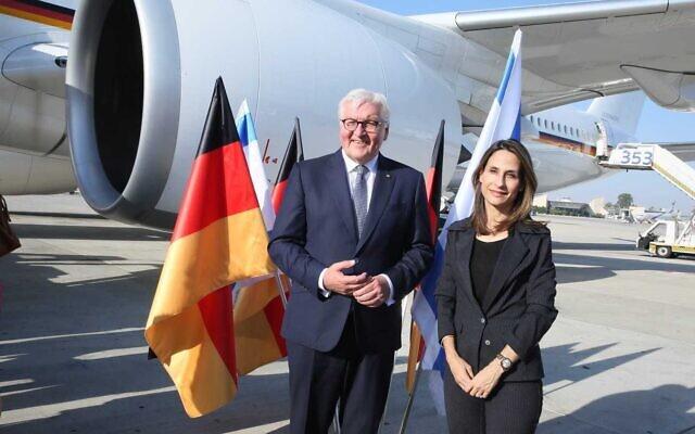 German President Frank-Walter Steinmeier arrives at Ben Gurion Airport on June 30, 2021. (Miri Shimonovitz)