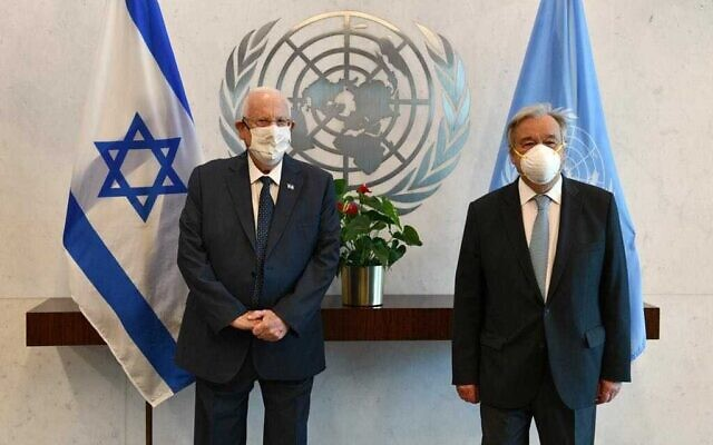 President Reuven Rivlin (L) meets UN Secretary General Antonio Guterres at the United Nations in New York, on June 29, 2021. (Haim Zach/GPO)