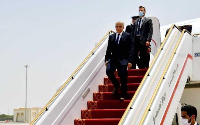 Foreign Minister Yair Lapid arrives in Abu Dhabi, United Arab Emirates, on June 29, 2021. (Shlomi Amsalem/GPO)