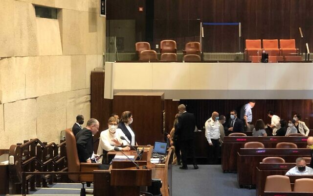 The presidential vote gets underway at the Knesset, June 2, 2021. (Tal Schneider/Times of Israel)