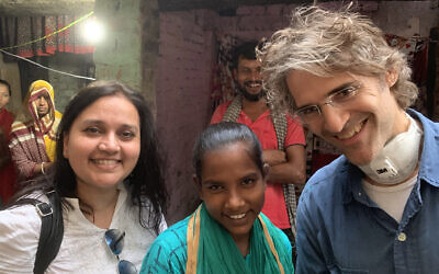 The New York Times's South Asia bureau chief Jeffrey Gettleman (far right), reporting during the coronavirus pandemic from India. (Courtesy)
