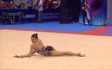 Screen capture from video of Israeli gymnast Linoy Ashram during her gold medal performance in the clubs routine at the European Championships in Varna, Bulgaria, June 13, 2012. (Twitter)