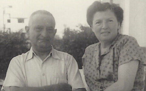 Hugo and Lucie Mendel on the balcony of their Tel Aviv apartment prior to Hugo's suicide in 1957. (Courtesy of Emanuel Rosen)