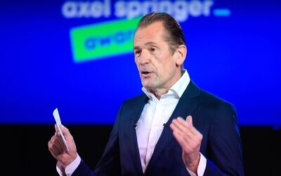 Mathias Dopfner, CEO of the German publisher Axel Springer, speaks at the opening of the company's award ceremony in Berlin, March 18, 2021. (Bernd von Jutrczenka - Pool/Getty Images via JTA)