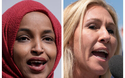 This combination of photos from the Associated Press shows Democratic Representative Ilhan Omar of Minnesota, left, and Republican Representative Marjorie Taylor Greene of Georgia. (AP Photo/Morry Gash, and AP Photo/Jacquelyn Martin)