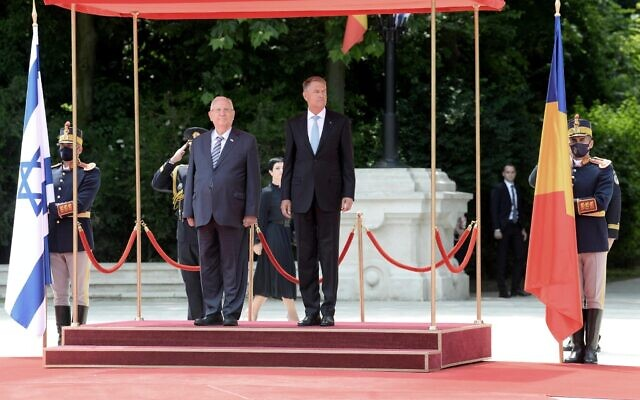 President Reuven Rivlin was received in an official reception ceremony at the presidential palace in Bucharest on Tuesday, June 8, 2021. (Mark Neyman/GPO)