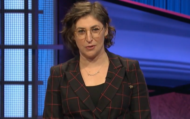"""Mayim Bialik in her """"Jeopardy!"""" debut, May 31, 2021. (Screenshot from ABC)"""