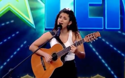 Lucia sings Hatikva at her Uruguay Got Talent audition on June 1, 2021. (Screen capture/YouTube)