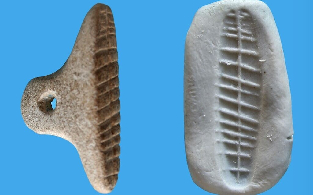 The limestone stamp seal from Tel Tsaf (V. Naikhin/Hebrew University)