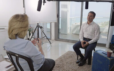 Former Mossad chief Yossi Cohen (R), in an interview with Channel 12's Ilana Dayan, broadcast on June 6, 2021. (Channel 12)