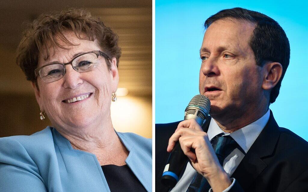 Presidential candidates Miriam Peretz and Isaac Herzog (Flash 90)