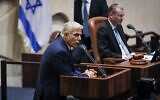 Yair Lapid addresses the Knesset, June 13, 2021. (Noam Moskowitz/Knesset spokesperson)