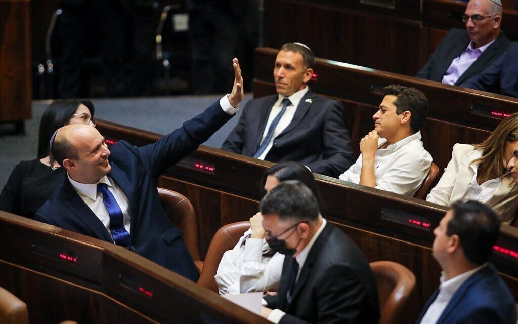 Prime Minister-designate Naftali Bennett in the Knesset, June 13, 2021 (Noam Moscowitz / Knesset spokesperson's office)
