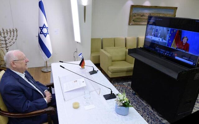 President Reuven Rivlin holds a farewell video call with German Chancellor Angela Merkel ahead of the end of his term of office, June 15, 2021. (Mark Neyman/GPO)