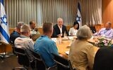 Defense Minister Benny Gantz meets with a delegation from the Jewish Institute for National Security of America at his office in Tel Aviv, June 17, 2021. (Ariel Hermoni/Defense Ministry)