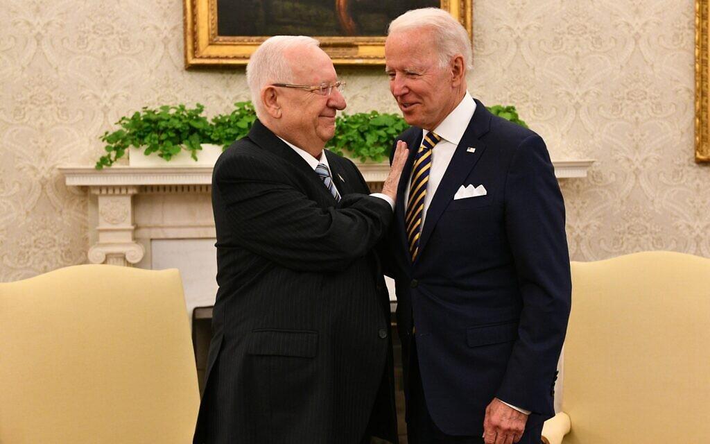 President Reuven Rivlin and US President Joe Biden in the White House on June 29, 2021. (Haim Zach/GPO)