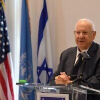 President Reuven Rivlin addresses a group of UN ambassadors in New York on June 29, 2021. (Haim Zach/GPO)
