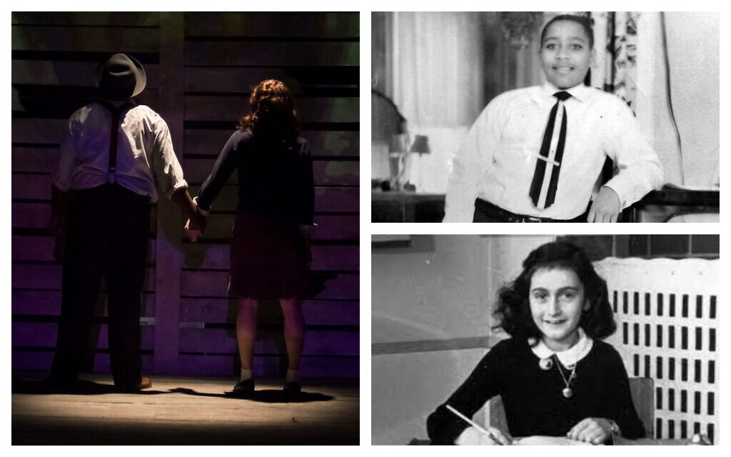 Clockwise from left: A still shot From the play 'Anne and Emmett' (courtesy); Emmett Till, and Anne Frank. (Public domain)