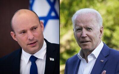 Prime Minister Naftali Bennett (left) and US President Joe Biden. (composite image: AP, Flash90)