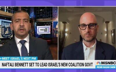 George Birnbaum (right), an adviser to Naftali Bennett, appears on MSNBC with anchor Mehdi Hasan. (MSNBC/Screenshot)