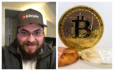 Bitcoin Rabbi Michael Caras (photo courtesy/ via JTA) and a visual representation of Bitcoin, at the 'Bitcoin Change' shop in Tel Aviv, February 6, 2018. (Jack Guez/AFP)