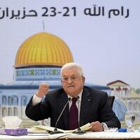 Palestinian Authority President Mahmoud Abbas addresses a meeting of Fatah's Revolutionary Council in a speech that was broadcast on Wednesday, June 23, 2021 (WAFA)