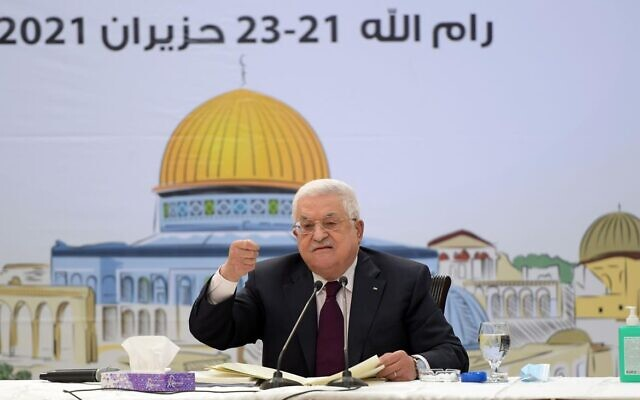 Palestinian Authority President Mahmoud Abbas addresses a meeting of Fatah's Revolutionary Council, in a speech that was broadcast on Wednesday, June 23, 2021. (WAFA)