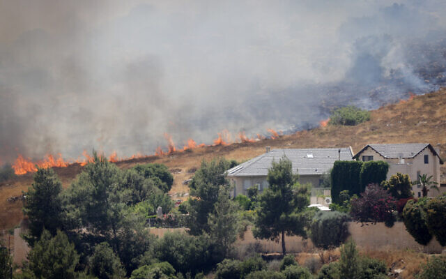 Firefighters try to extinguish a forest fire in the woods of Tzur Hadassah, outside Jerusalem, on June 4, 2021 (Nati Shohat/FLASH90)