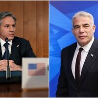 US Secretary of State Antony Blinken (L) and Foreign Minister Yair Lapid. (AP/Collage)