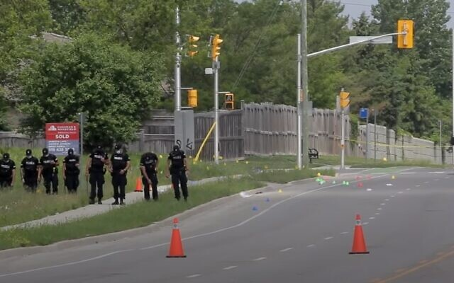 Canadian police at the scene of a deadly car-ramming in London, Ontario on June 7, 2021. (YouTube screenshot)