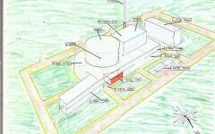 A color schematic of the Osirak nuclear facility in Iraq, from an Israeli intelligence file, released on June 22, 2021. (Defense Ministry)